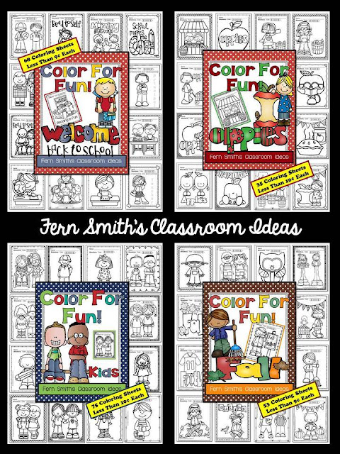 Fern Smith's Classroom Ideas Color for Fun, First Semester Bundle for Fall Fun! Color For Fun Printable Coloring Pages