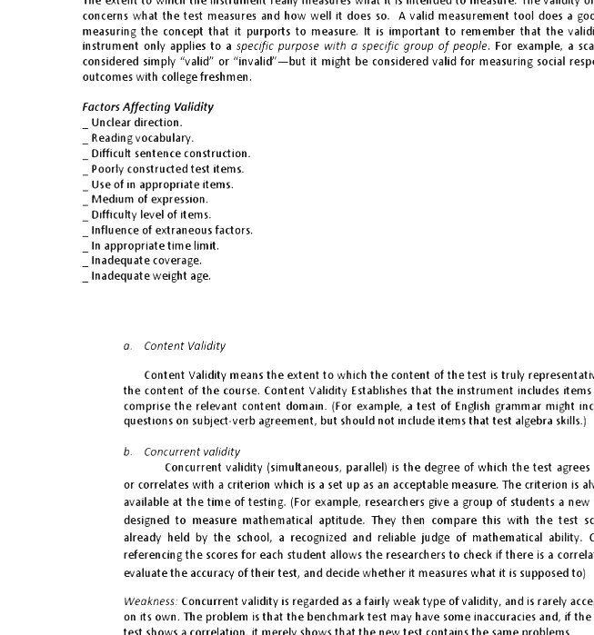 Validity Statistics Content Domain