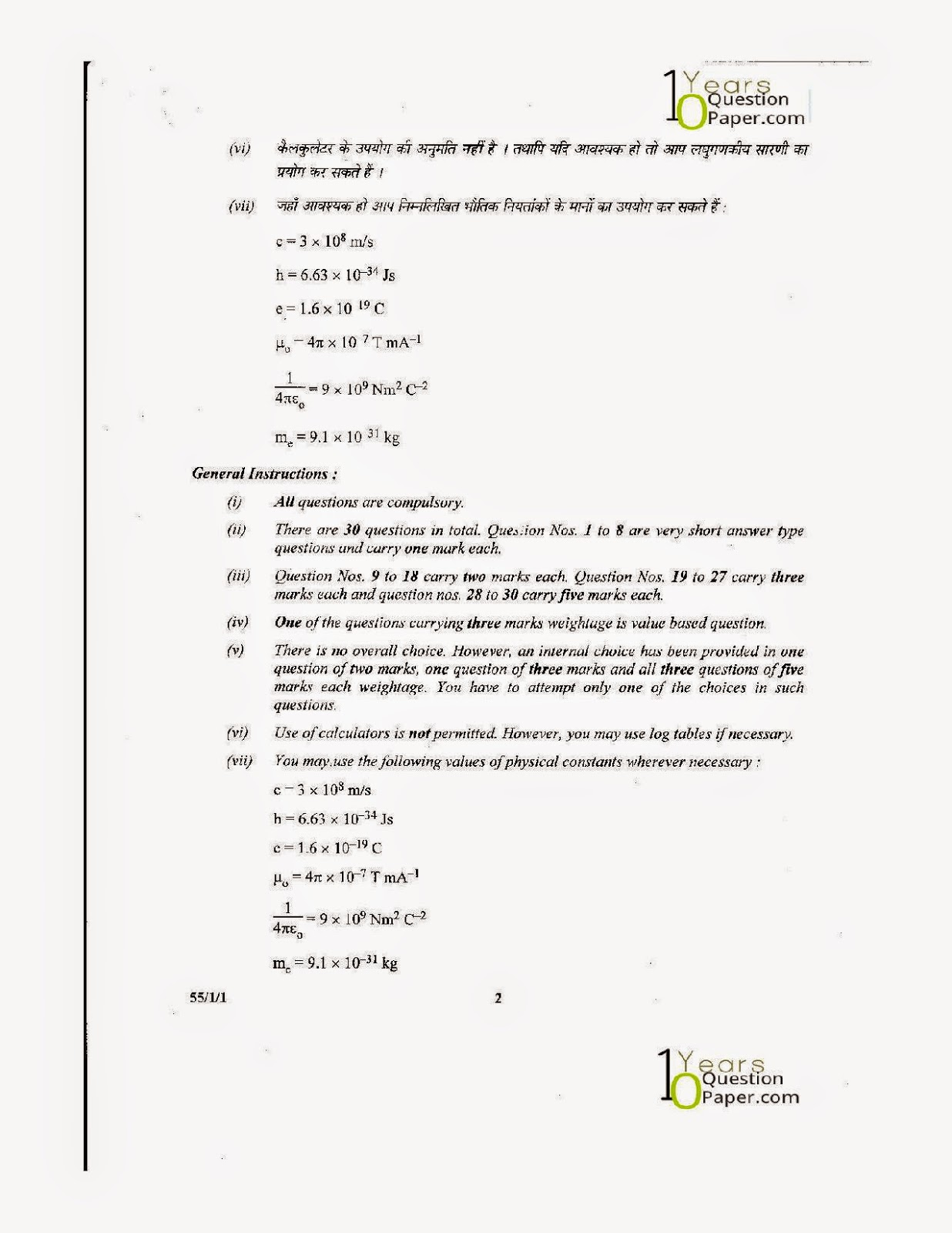 cbse class 12th Physics download solved question paper 2014