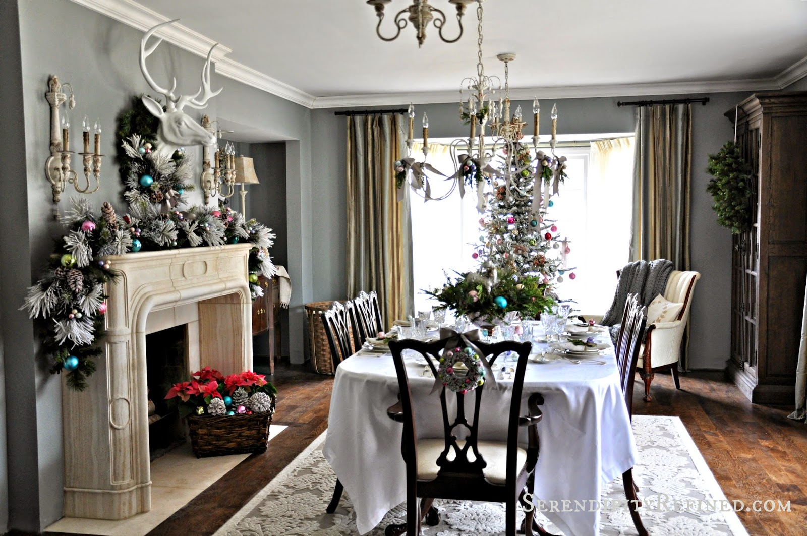 serendipity refined blog frosty pastel dining room christmas that s a really good thing because it s less than a week until christmas and i m just finishing my decorating so it s not like there s really time to change
