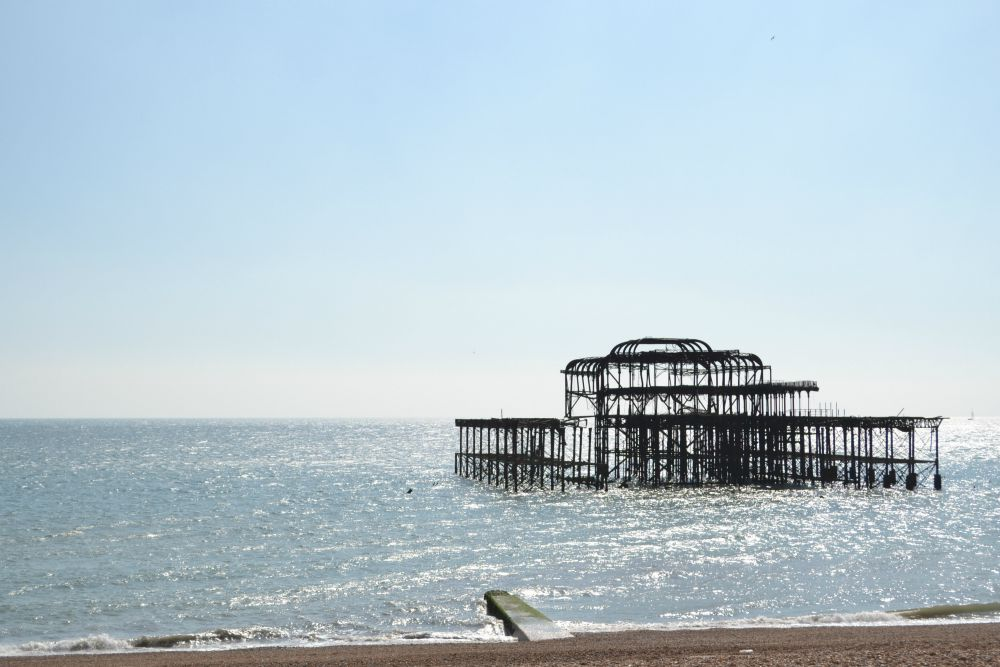 old pier fire brighton structure water beach
