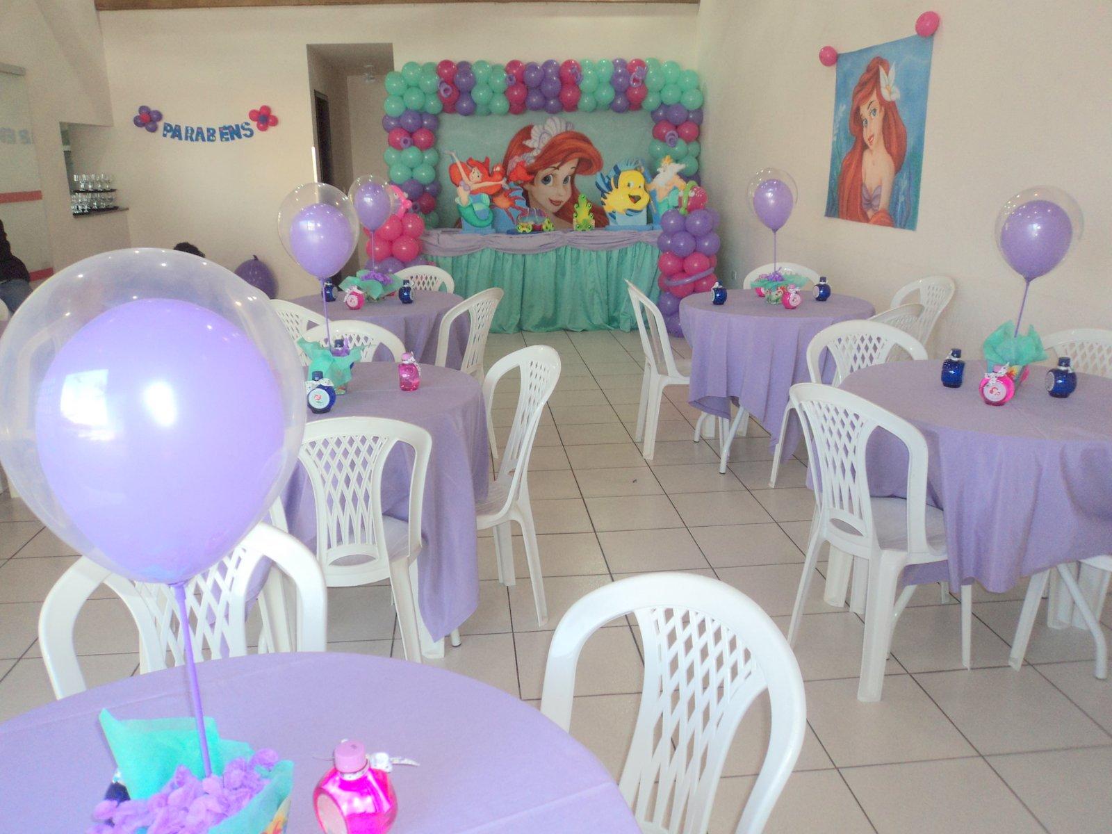 Brinque e arte decoraç u00e3o com balões DECORA u00c7ÃO TEMA ARIEL PEQUENA SEREIA -> Enfeites De Mesa Tema Sereia