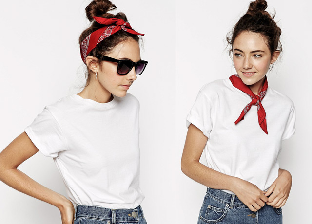 How to wear red bandana with white shirt and high waist rise jeans