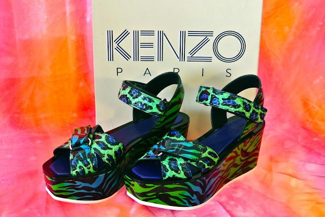 Kenzo flatforms wild platform sandal animal print