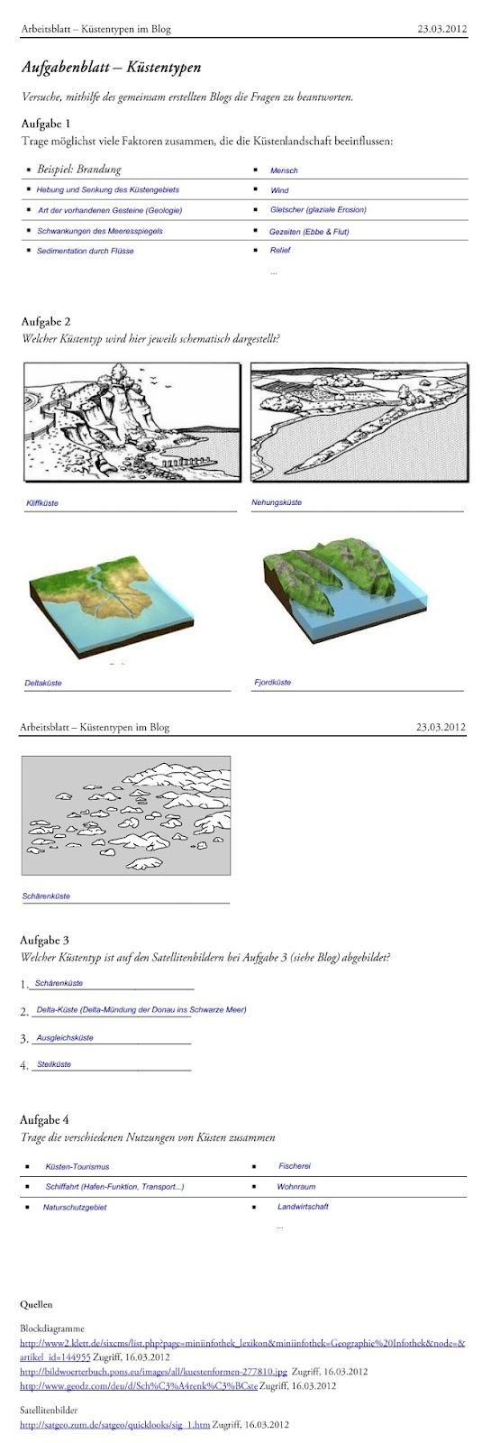 Küsten: Prozesse und Formen: Lösungen Arbeitsblatt
