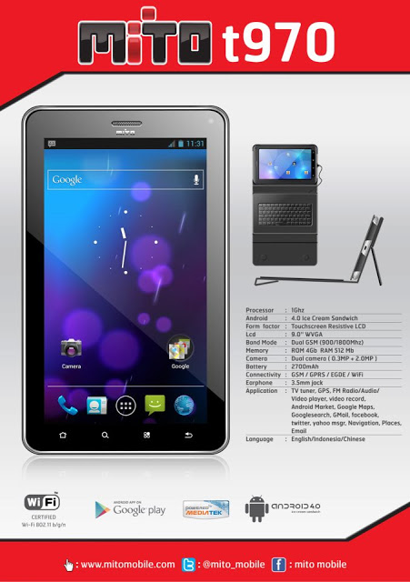Mito T970 Tablet Book 9 OS Android 4.0 Ice Cream Sandwich ICS disertai Keybord Eksternal