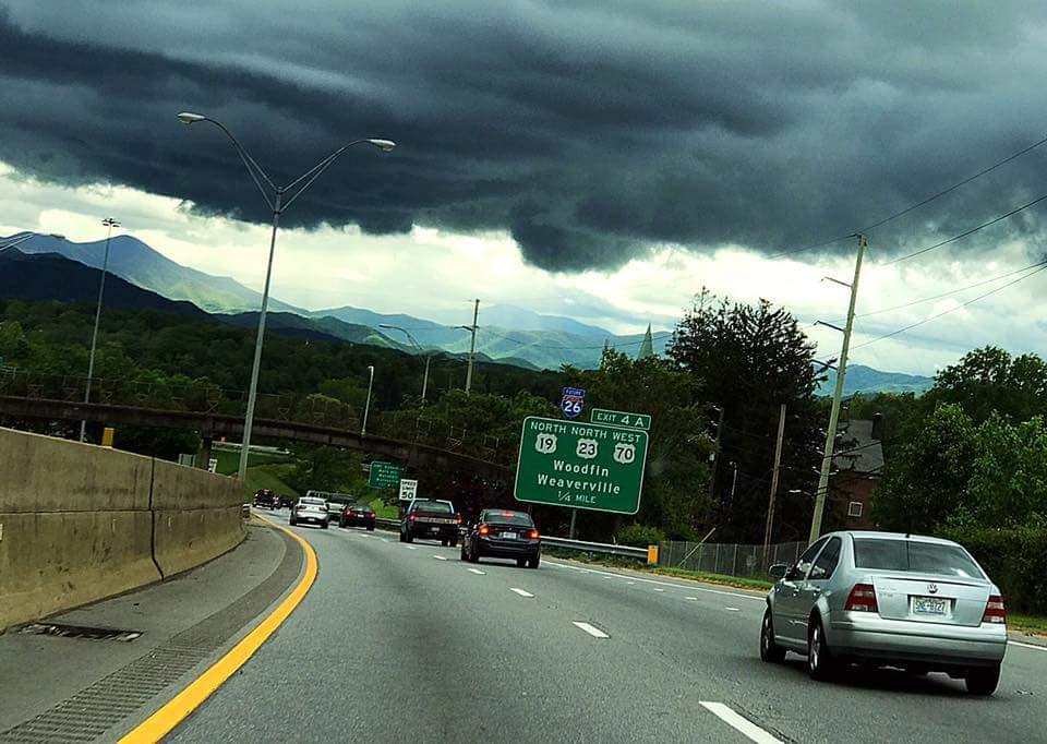 Approaching the city.  Photo from the Asheville Facebook Page.