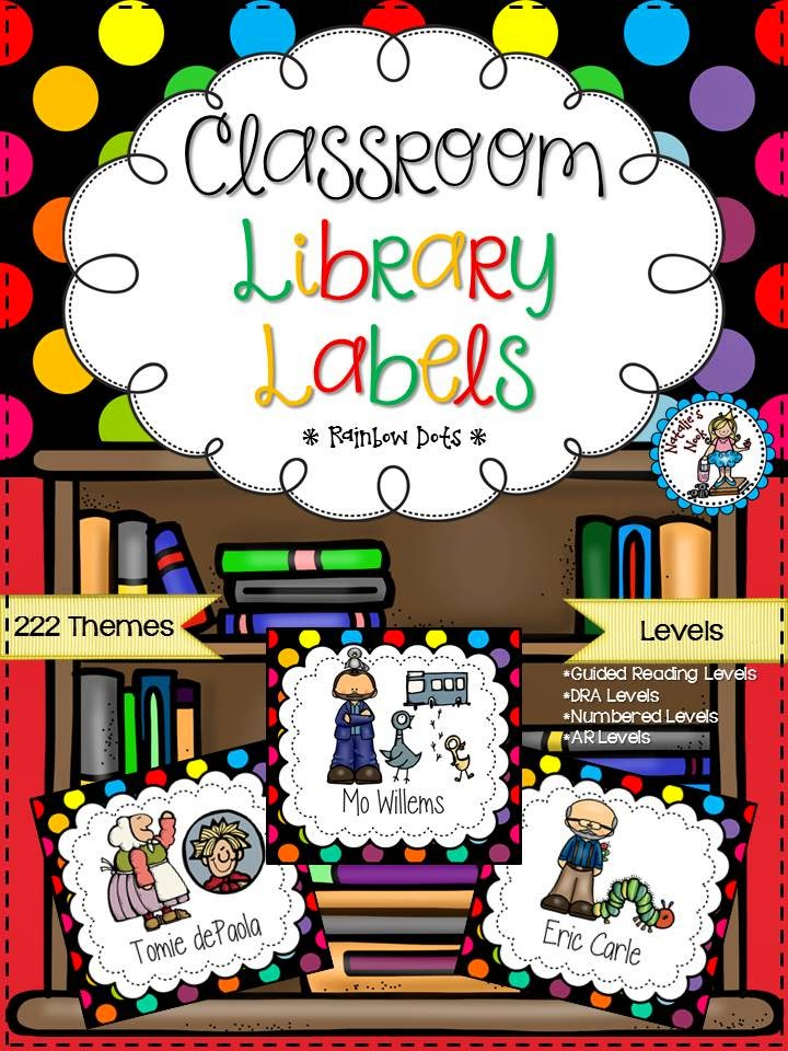 http://www.teacherspayteachers.com/Product/Classroom-Library-Labels-Rainbow-Dots-1300702