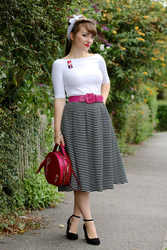 50s style monochrome midi swing skirt, white bardot top, white headscarf, pink accessories and Erstwilder Lip Service brooch