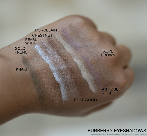 Burberry Eyeshadows Swatches Khaki Gold Trench Pearl White Rosewood Chestnut Porcelain Antique Rose Taupe Brown
