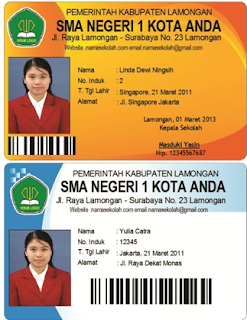 Contoh kartu pelajar SMA