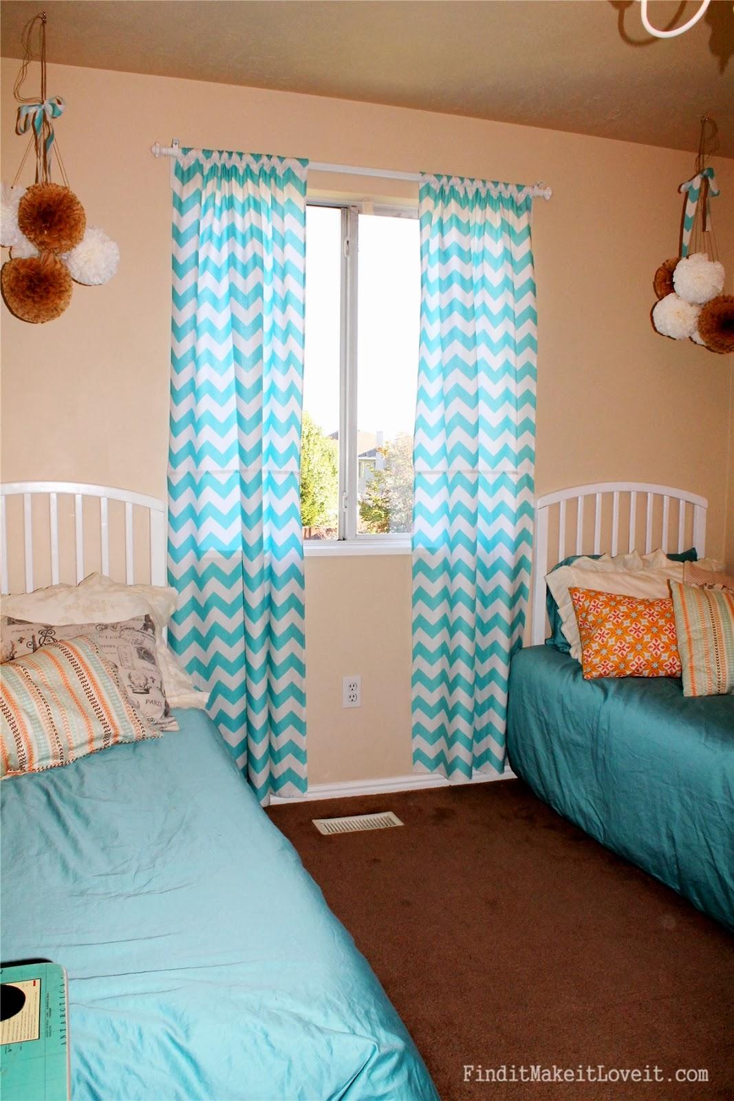 Aqua chevron shower curtain - Wilko Aqua Chevron Shower Curtain Curtains Make Such A Difference They Have Really Brightened The Girls Room And Added Some
