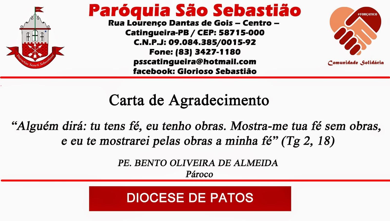 Excepcional CARTA DE AGRADECIMENTO: Paróquia São Sebastião e Familiares de  SN72