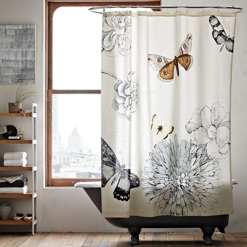 Cortina De Baño Original:West Elm Butterfly Shower Curtain