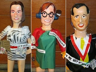 Muñecos por fin de año personajes políticos
