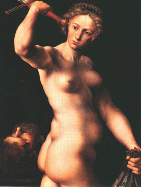 Here a completely nude Judith is raising self confident a heavy sword.