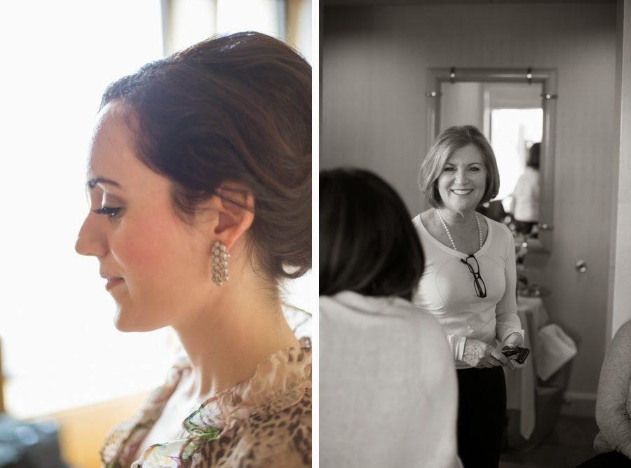Candid of bride and mother of the bride while getting ready. Lifestyle wedding photography by Cassie Castellaw. www.cassiecastellaw.com