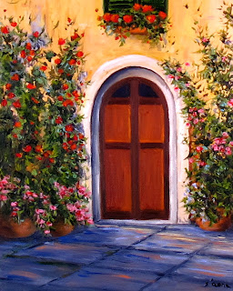 oil painting of Roses climbing up  an Italian county home