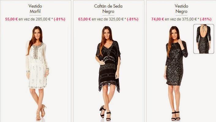 Tres modelos de vestidos en color marfil o negro en oferta