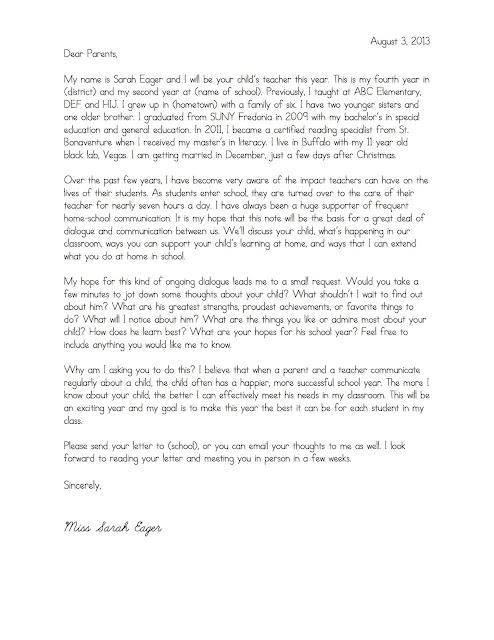 Parent Letter From Teacher