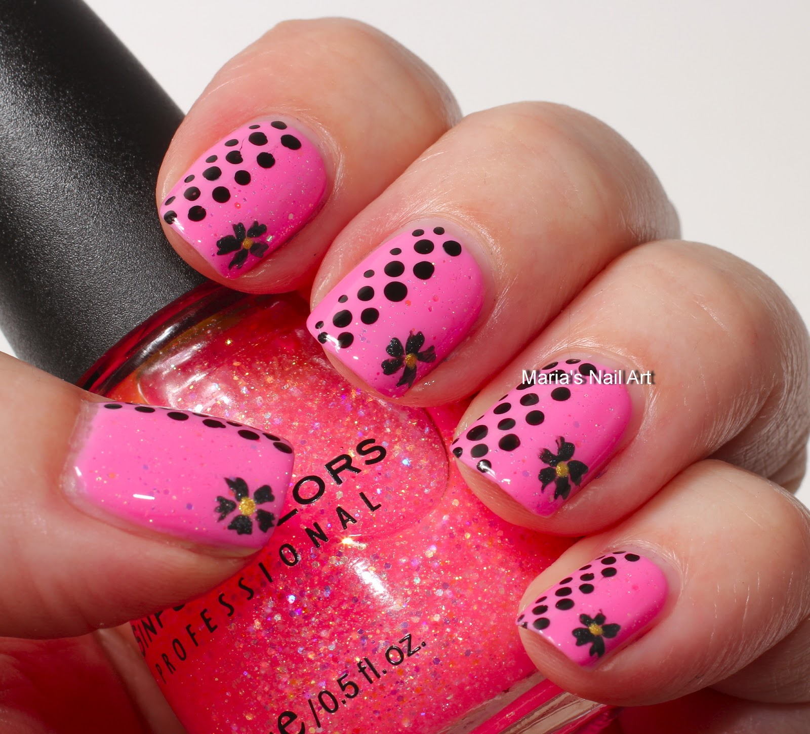 Marias Nail Art And Polish Blog Pink Glitter Dots And The Flowers