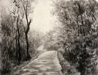 Original charcoal painting of a forest from Coorg by Manju Panchal