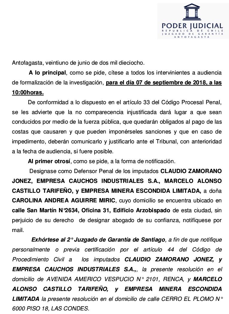 IMPUTADOS GERENTES GENERALES EMPRESAS MINERA ESCONDIDA LTDA. y CAUCHOS INDUSTRIALES S.A. (CAINSA).