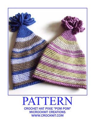 crochet patterns, how to crochet, baby hats, pixie, elf, pom pom hats, newborn,