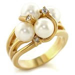 Gold Plated White Pearl Cluster Ring