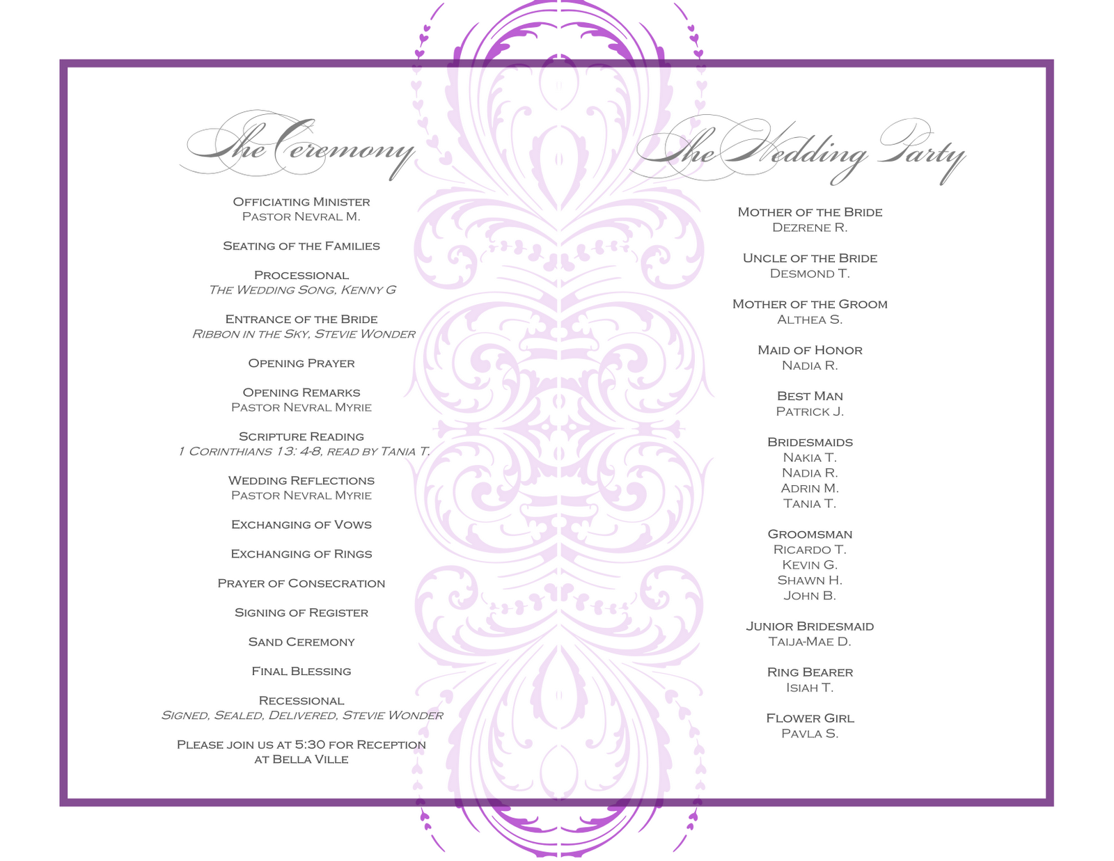 wedding reception order of events template open up a even
