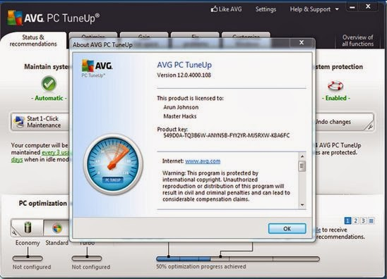 Downloaded avg pc tuneup 14 incl serial keygen active free