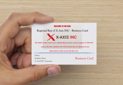WHAT YOUR OWN X-AXIS INC BUSINESS CARD? WITH EXTRA COMMISSION AND BONUSES? BECOME A REGIONAL REP!