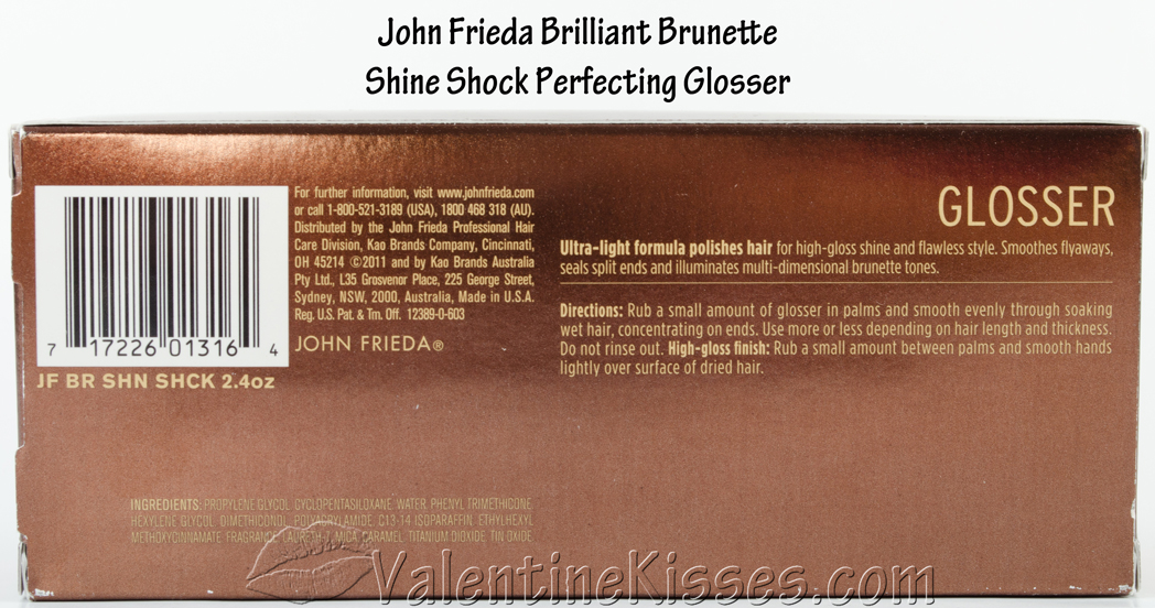 Brilliant brunette shine shock leave on perfecting glosser support from