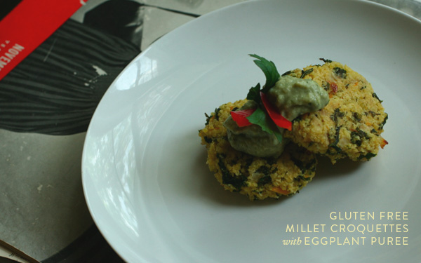 Millet croquettes with eggplant puree