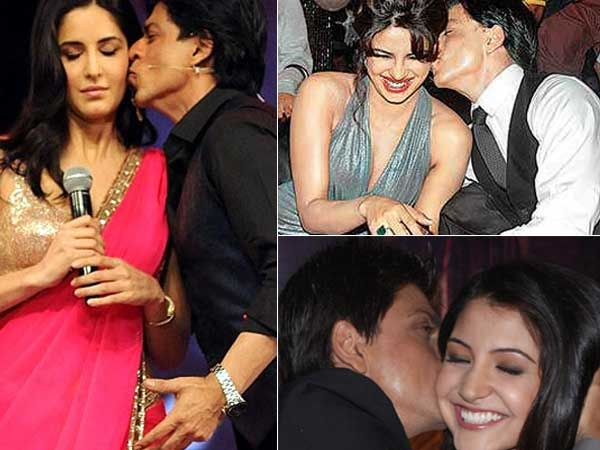 Shahrukh kissing katrina, priyanka, and anushka  - (3) - Celebreties kissing !!! Caught on camera