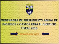 Ordenanza de Presupuesto 2016
