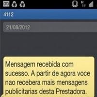 Mensagem da operadora confirmando o cancelamento das propagandas