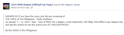 MOR Auditions- Baguio City