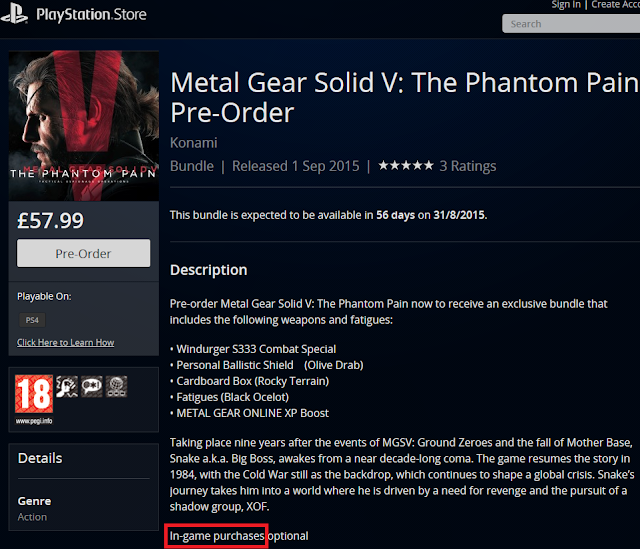 Metal Gear Solid V The Phantom Pain pre-order in-game purchases optional