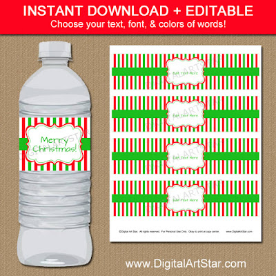 Christmas water bottle labels with editable text and red, white, and green stripes