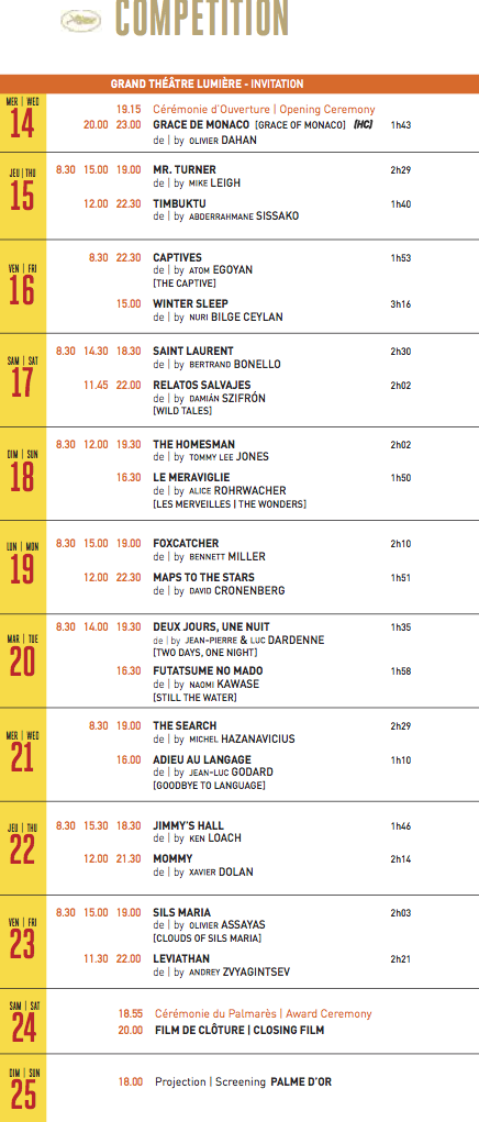 Iscomigoo Programme des projections du 67e Festival de Cannes