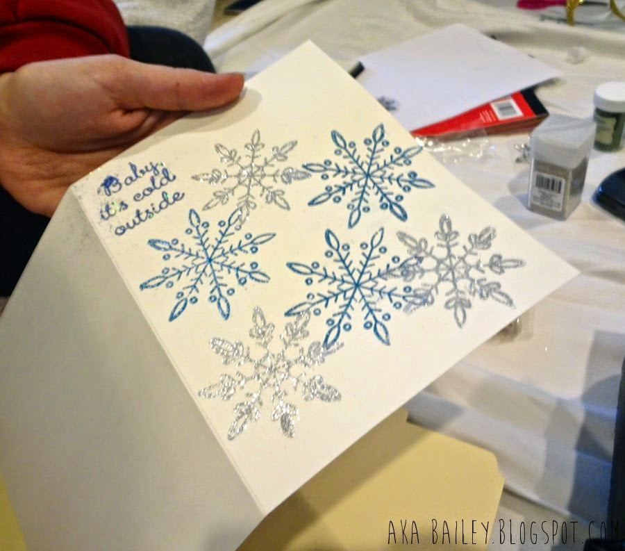 Blue and silver snowflake holiday card
