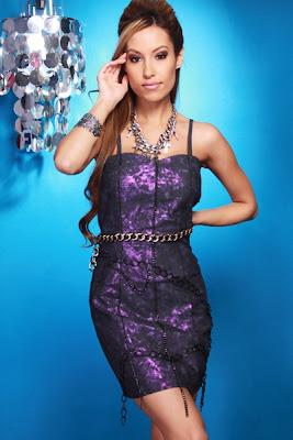 PURPLE METALLIC DISTRESSED CHAIN DECOR SWEETHEART DRESS