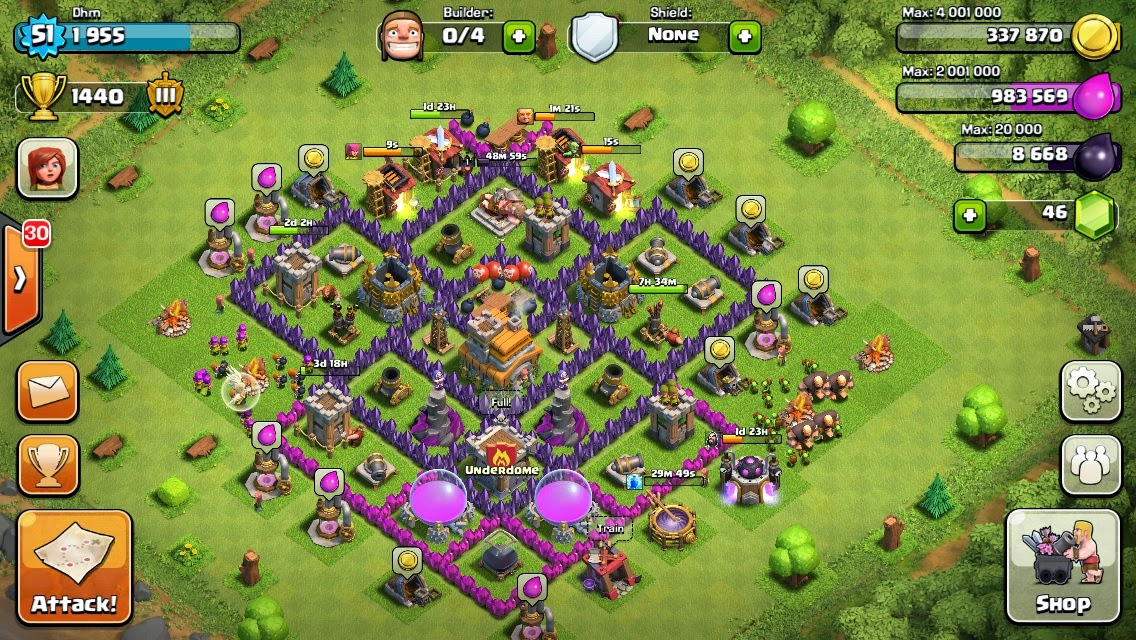 Clash of clans town hall 7 setup car pictures