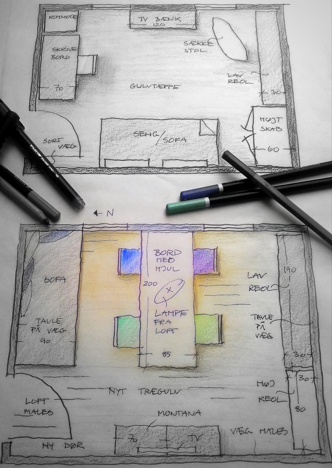 Frirum: krea stue skitse