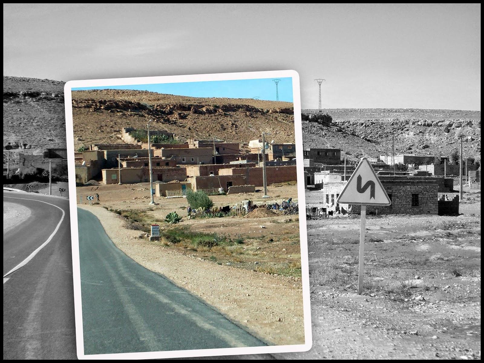 maroc route panneau ligne continue