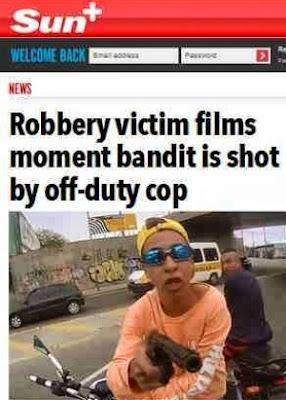"""O britânico """"The Sun"""", que ressaltou o fato de que o policial militar que baleou o ladrão, embora fardado, não estava em horário de trabalho"""