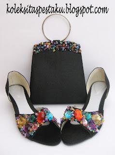 Tas Pesta Sepatu Hitam Cantik Payet Warna Warni Elegant