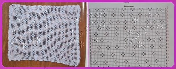 Toalhinhas ou guardanapos de crochê com gráfico