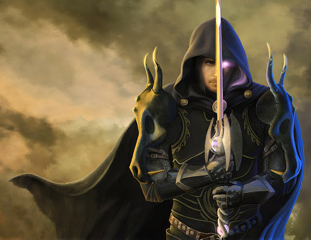 Cover art for Guardians of LEgend shocasing a dark knight with a sophisticated sword and cloak